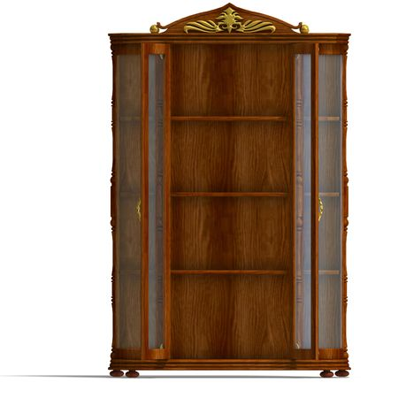 fixtures: 3D rendering of a wooden cabinet with glass of Louis XV.