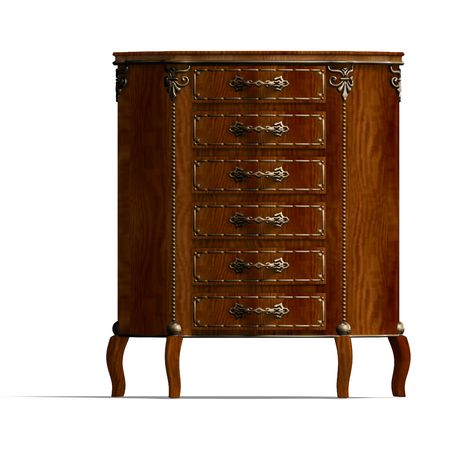 fixtures: 3D rendering of a wooden commode with drawers of Louis XV.