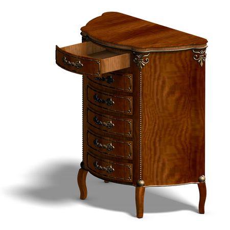 Representaci�n 3D de un retrete de madera con cajones de Luis XV.  Foto de archivo