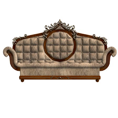 easy chair: 3D rendering of a cushy sofa of louis XV.