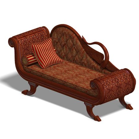 cushy: 3D rendering of a very comfortable sofa from biedermeier time  Stock Photo