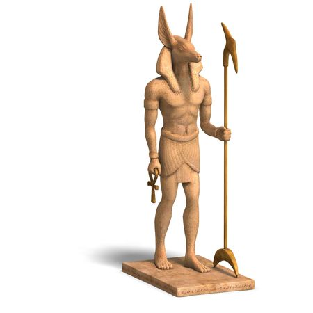 rendering of anubis statue white photo