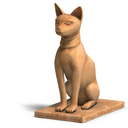 sceptre: rendering of the egyp cat statue bast Stock Photo