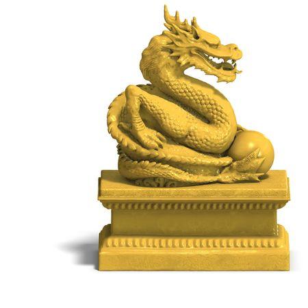 een gulden draak met een kogel. 3D-weergave