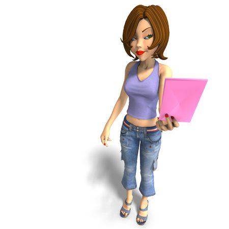 jonge toon meisje met een letter. 3D render