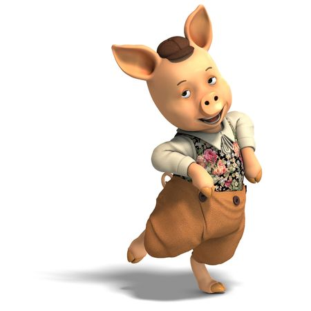 carnivora: 3D rendering of a cute cartoon pig