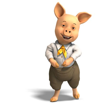 chancho caricatura: Representaci�n 3D de un cerdo de dibujos animados cute
