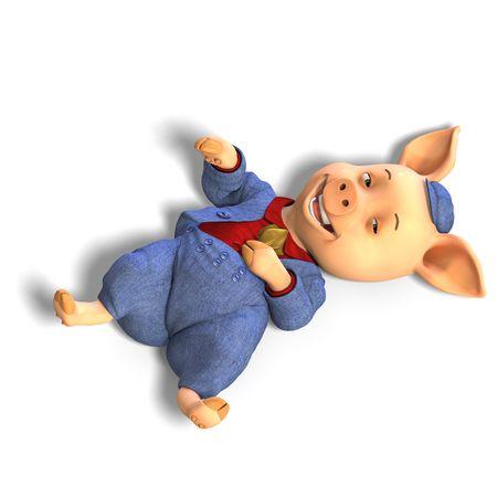 chuckle: 3D rendering of a cute cartoon pig