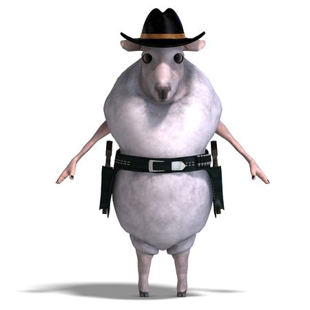 vaquero: 3D rendering of a sheep of the wild west  Stock Photo
