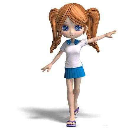 3D-weergave van een cute cartoon school meisje