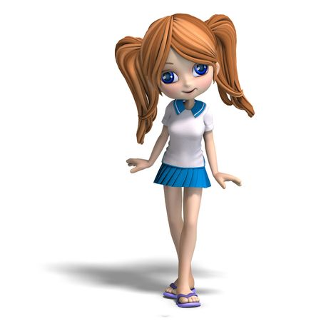 lassie: 3D rendering of a cute cartoon school girl  Stock Photo