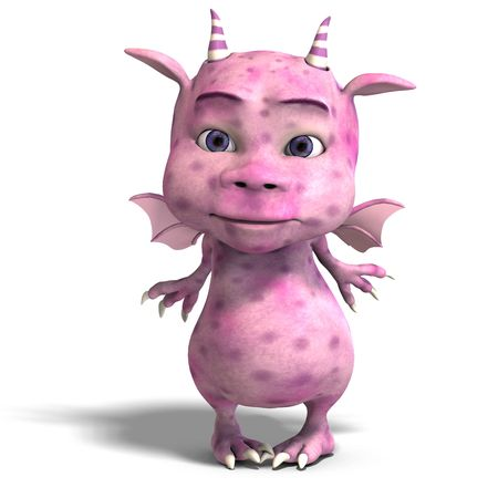 3D rendering of a little pink cute toon dragon devil Stock Photo