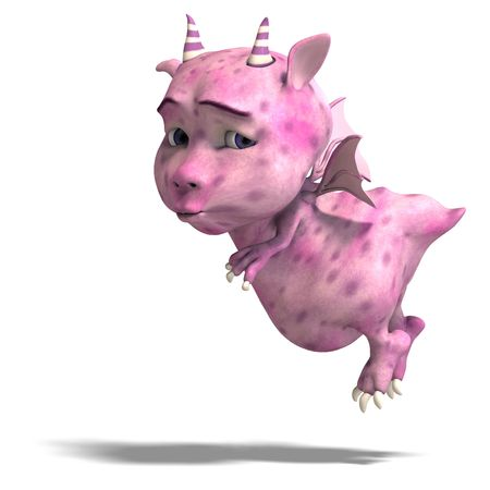 cheerless: 3D rendering of a little pink cute toon dragon devil