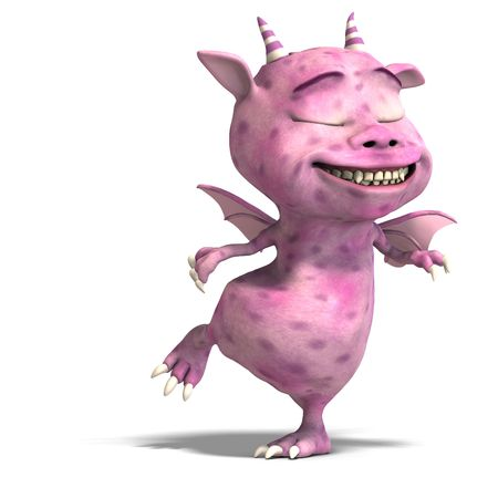 3D rendering of a little pink cute toon dragon devil photo