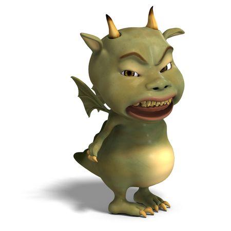 plushy: 3D rendering of a little green cute toon dragon devil