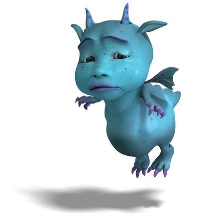 harridan: Representaci�n 3D de un diablo de drag�n azul toon lindo poco