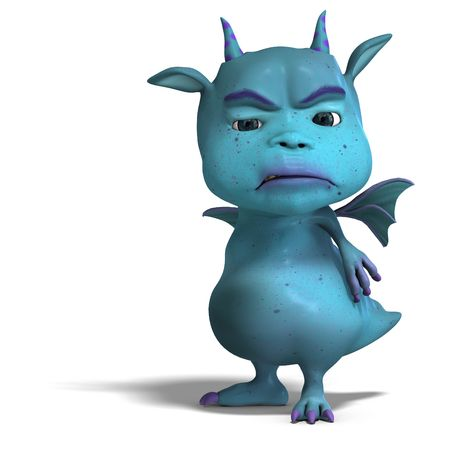 irked: 3D rendering of a little blue cute toon dragon devil  Stock Photo