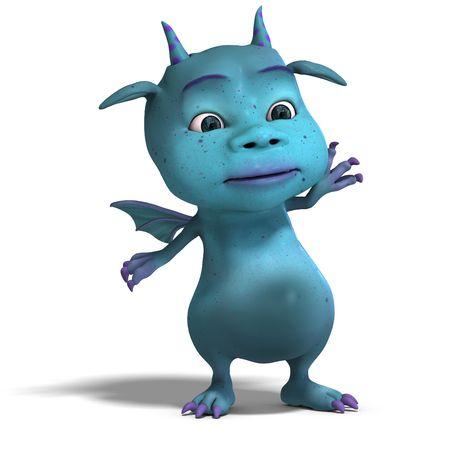 wyvern: 3D rendering of a little blue cute toon dragon devil  Stock Photo