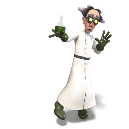 3D rendering of a mad scientist with dangerous fluid