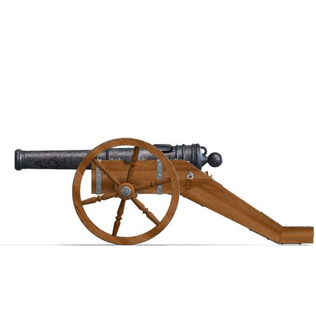 chemical weapons: field artillery cannon. 3D rendering
