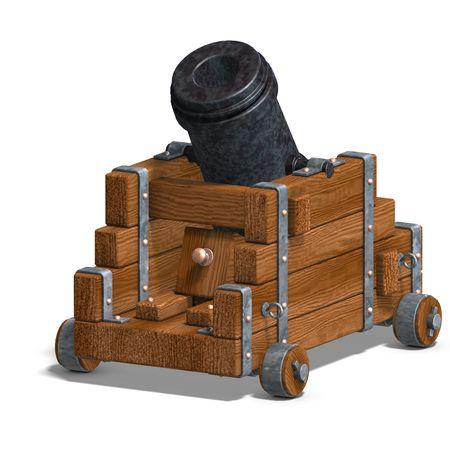ballistic mortar cannon. 3D render  photo