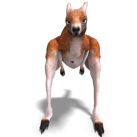 upright: 3D rendering of a big red kangaroo