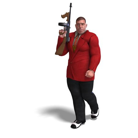 extortion: 3D rendering of a bad mafia gun man Stock Photo