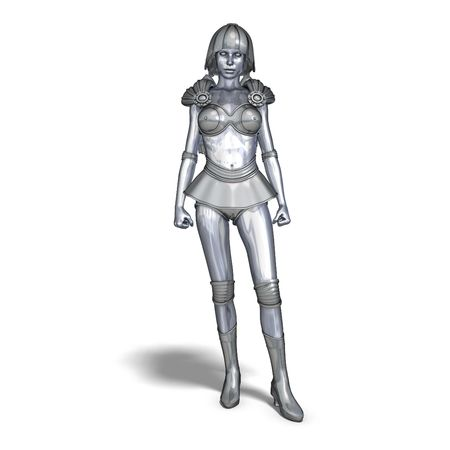 roboter: 3D rendering of a powerful silver heroine rescues the world