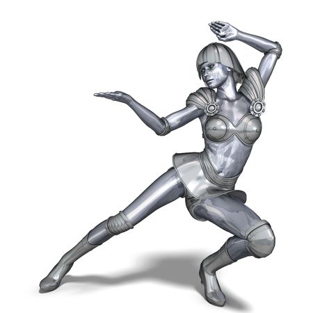 3D rendering of a powerful silver heroine rescues the world Stock Photo - 5641490