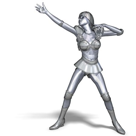 braver: 3D rendering of a powerful silver heroine rescues the world