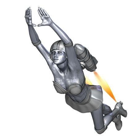 woman floating: 3D rendering of a powerful silver heroine rescues the world