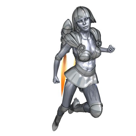 3D rendering of a powerful silver heroine rescues the world Stock Photo - 5641590