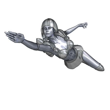 3D rendering of a powerful silver heroine rescues the world photo