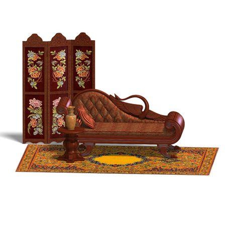 cushy: 3D rendering of a very comfortable sofa from biedermeier time