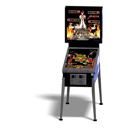 tilting: 3D rendering of a pinball