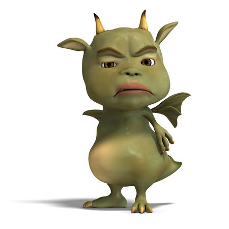 upright: 3D rendering of a little green cute toon dragon devil