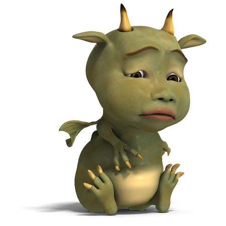 wyvern: 3D rendering of a little green cute toon dragon devil