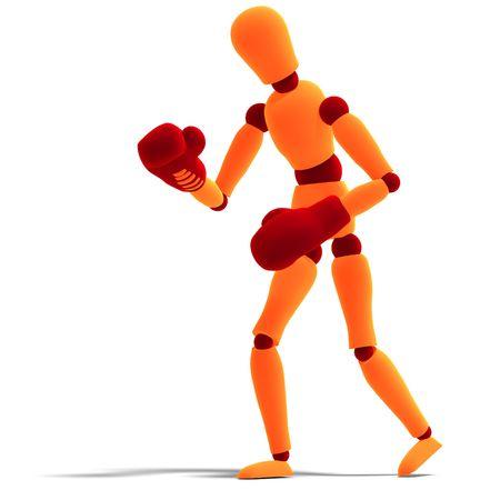 joust: 3D rendering of a orange  red  manikin who is the winner