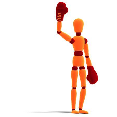 diehard: 3D rendering of a orange  red  manikin who is the winner