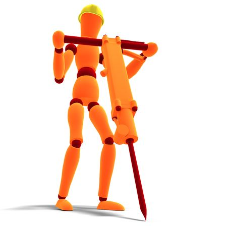 building lot: 3D rendering of a orange  red  manikin as a worker with jackhammer