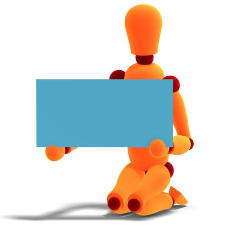 salutation: 3D rendering of a orange  red  manikin who holds a business card