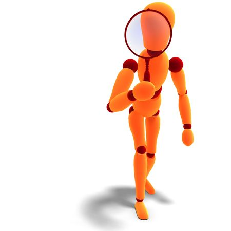 spotter: 3D rendering of a orange  red  manikin looking through a magnifier glass looking for something
