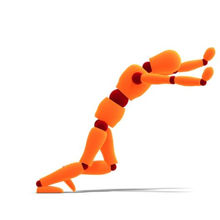dozing: 3D rendering of a orange  red  manikin pushing something