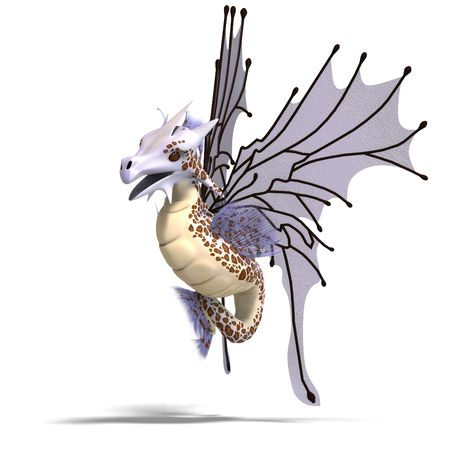 dragon swim: 3D rendering of a Faerie Fantasy Dragon with clipping path and shadow over white