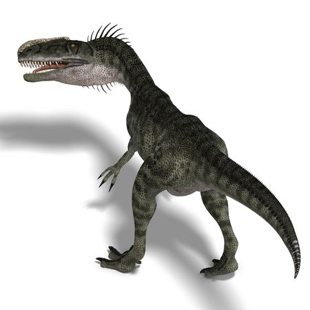 devour: giant jurassic beast. 3D render with clipping path and shadow over white