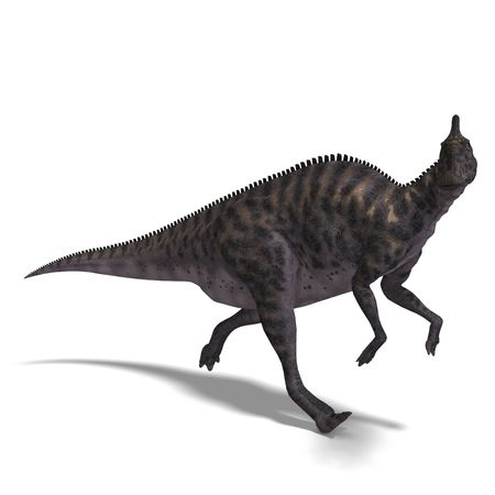 enormous: Dinosaur Saurolophus. 3D render with clipping path and shadow over white