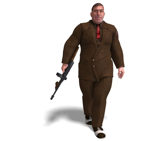 3D rendering of a bad mafia gun man with clipping path and shadow over white photo