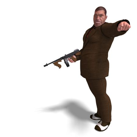 delinquent: 3D rendering of a bad mafia gun man with clipping path and shadow over white