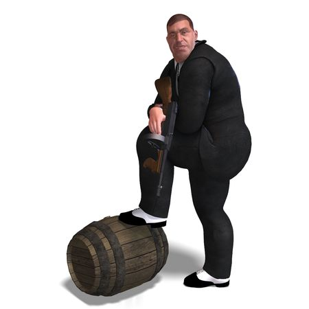 mugging: 3D rendering of a bad mafia gun man with clipping path and shadow over white