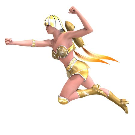 braver: 3D rendering of a female superhero with green gold outfit with clipping path and shadow over white